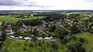Fotos Niederlande Haus Flusse Felder Dorf Von oben Diepenveen, Provincie Overijssel Städte