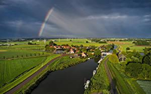 Hintergrundbilder Niederlande Gebäude Flusse Acker Wege Regenbogen Gewitterwolke Rustenburg
