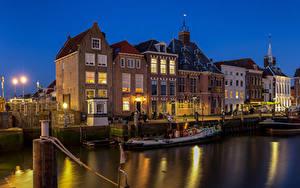 Hintergrundbilder Niederlande Gebäude Wasser Boot Nacht Maassluis
