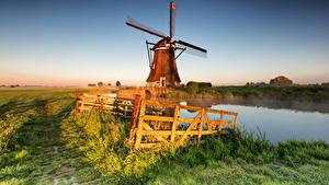 Fotos Niederlande Morgen Acker Zaun Nebel Windmühle Alblasserwaard, Streefkerk Natur