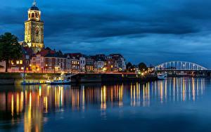 Hintergrundbilder Niederlande Flusse Brücke Haus Binnenschiff Abend Türme Deventer Städte