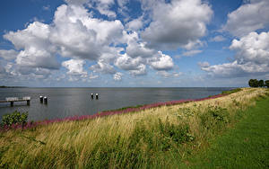 Hintergrundbilder Niederlande Fluss Küste Himmel Schiffsanleger Gras Wolke Medemblik Natur