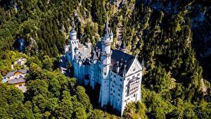 Bilder Schloss Neuschwanstein Burg Deutschland Bayern Von oben Städte
