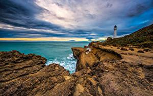 Hintergrundbilder Neuseeland Küste Himmel Leuchtturm Felsen Wolke Castlepoint Lighthouse Natur
