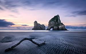 Bilder Neuseeland Küste Sonnenaufgänge und Sonnenuntergänge Felsen Strand Wharariki Beach