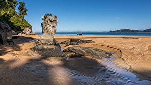 Hintergrundbilder Neuseeland Küste Felsen Strände Totaranui Beach, Abel Tasman National Park