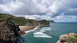 Desktop hintergrundbilder Neuseeland Küste Felsen Wolke Whites Beach Natur
