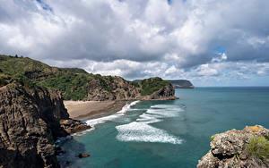 Papel de Parede Desktop Nova Zelândia Costa Rocha Nuvem Whites Beach Naturaleza