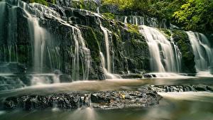 Hintergrundbilder Neuseeland Fluss Wasserfall Steine Purakaunui River, Purakanui Falls