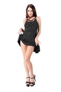 Fotos Niemira iStripper Weißer hintergrund Braune Haare Posiert Kleid Hand Bein Stöckelschuh Mädchens