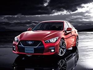 Desktop hintergrundbilder Nissan Hybrid Autos Rot 2019-20 Skyline GT Hybrid auto