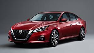 Bilder Nissan Limousine Rot Grauer Hintergrund Altima, Platinum, 2018 automobil