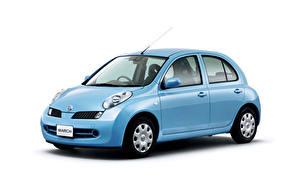 Fotos Nissan Hellblau Metallisch Weißer hintergrund  auto