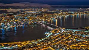 Hintergrundbilder Norwegen Brücken Haus Nacht Von oben