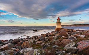 Hintergrundbilder Norwegen Küste Leuchtturm Stein Pikesten