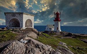 Fotos Norwegen Küste Leuchtturm Wolke Vest-Agder Natur