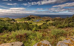 Fotos Norwegen Küste Meer Steine Hügel Wolke  Natur