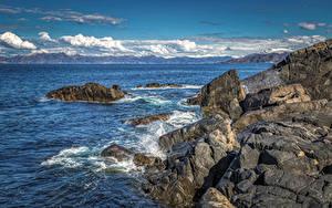 Papel de Parede Desktop Noruega Costa Pedras Nuvem Rocha  Naturaleza