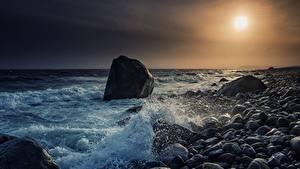 Desktop hintergrundbilder Norwegen Küste Steine Sonnenaufgänge und Sonnenuntergänge Meer Skagerrak Strait, Molen Beach Natur