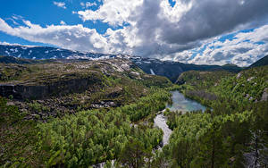 Fotos Norwegen Wald Parks Fluss Berg Landschaftsfotografie Wolke Felsen Rago National Park Natur