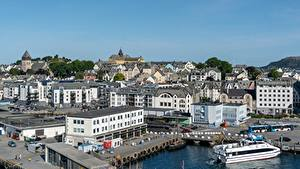 Wallpapers Norway Houses Marinas Alesund, The og Romsdal Cities