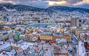 Hintergrundbilder Norwegen Haus Gebirge Oslo Dach Von oben