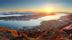Wallpaper Norway Building Sunrises and sunsets Marinas Bay Tromso Cities