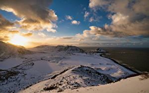 Papel de Parede Desktop Noruega Lofoten Costa Montanhas Nuvem  Naturaleza