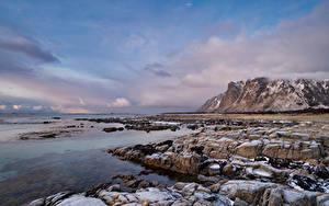 Papel de Parede Desktop Noruega Lofoten Costa Montanha Pedras Rocha Nuvem Naturaleza