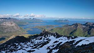 Fotos Norwegen Lofoten Gebirge Fjord Austnesfjorden