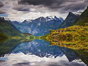 Bilder Norwegen Lofoten Gebirge Bucht Laubmoose Natur