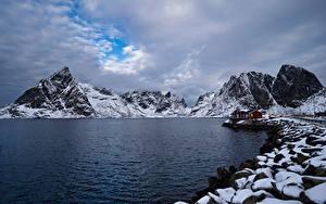 Papel de Parede Desktop Noruega Lofoten Montanhas Costa Nuvem  Naturaleza