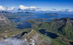 Hintergrundbilder Norwegen Lofoten Gebirge Wolke Fjord Von oben Eidet Natur
