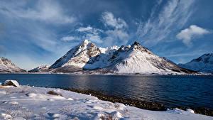 Desktop hintergrundbilder Norwegen Lofoten Berg Wolke Higravstinden Natur