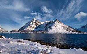 Fotos Norwegen Lofoten Berg Wolke Higravstinden