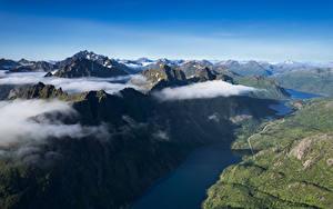 Desktop hintergrundbilder Norwegen Lofoten Gebirge Wolke Fjord Von oben Ingelsfjord Natur