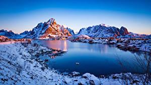 Bakgrunnsbilder Norge Lofoten Fjell Morgen Reine Natur