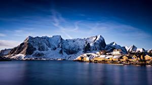 Bakgrunnsbilder Norge Lofoten Fjell Sakrisoy