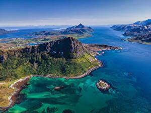 Fotos Norwegen Lofoten Gebirge Meer Von oben
