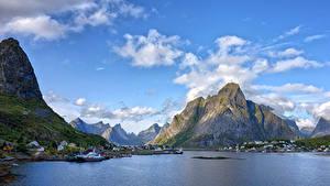 Fondos de escritorio Noruega Islas Lofoten Montañas Cielo Nube Acantilado Reine