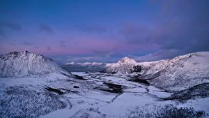 Hintergrundbilder Norwegen Lofoten Berg Schnee