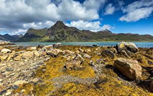 Hintergrundbilder Norwegen Lofoten Gebirge Stein Wolke Natur