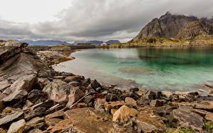 Fotos Norwegen Lofoten Gebirge Steine Wolke Natur