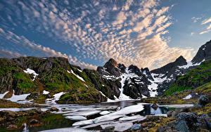 Hintergrundbilder Norwegen Lofoten Berg Wolke Fjord Trollfjord