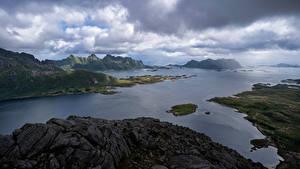 Fotos Norwegen Lofoten Gebirge Wolke Fjord Vestpollen