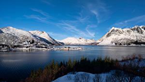 Bakgrunnsbilder Norge Lofoten Fjell Fjord Vestpollen Natur