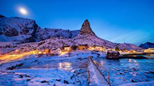 Image Norway Lofoten Winter Building Evening Bridge Snow Cliff Reine Cities