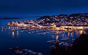 Hintergrundbilder Norwegen Bootssteg Boot Yacht Haus Nacht Bucht
