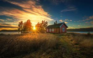 Hintergrundbilder Norwegen Morgen Morgendämmerung und Sonnenuntergang Gebäude Bäume Gras Sonne Lichtstrahl Ringerike
