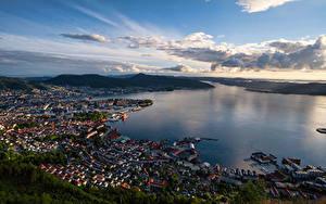Bilder Norwegen Gebirge Bergen Gebäude Himmel Von oben fjord Städte